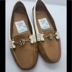 """New """"Tory Burch"""" Brown/Cream Mocassin Drivin Shoes"""